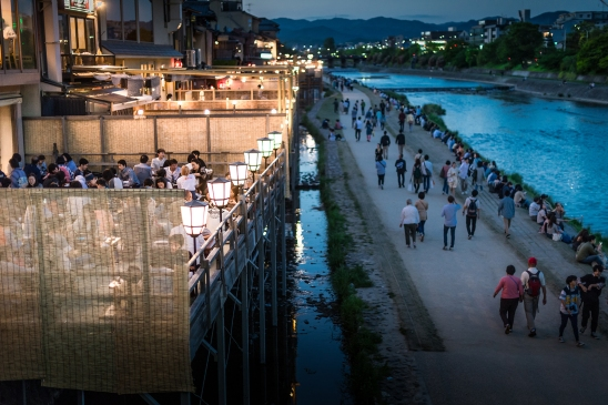 Pontocho night-life along the Kamo river, Kyoto