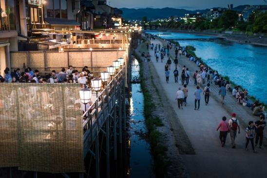 Pontocho night-life along the Kamo river, Kyoto