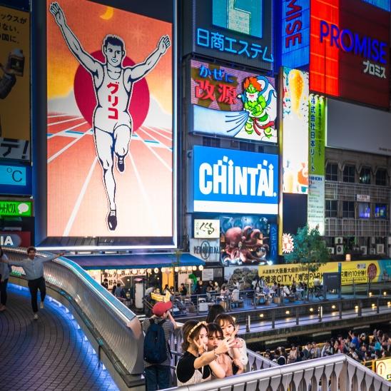 Selfie girls at Dotombori, Osaka