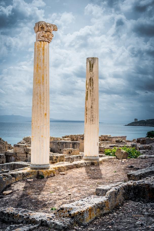 The fake columns (but original capital on one top) at Tharros, Sinis peninsula