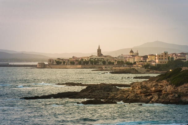 The old town of Alghero from the coastal SP105 highway