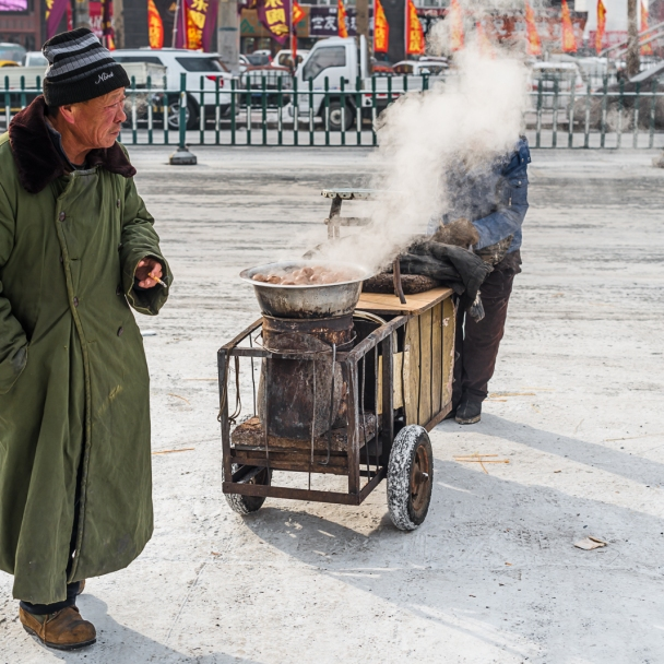 Steamed sweet potato , most popular street food in Harbin
