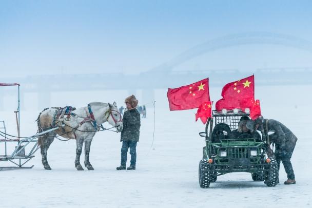 Civil militia on the frozen Songhua River, Harbin