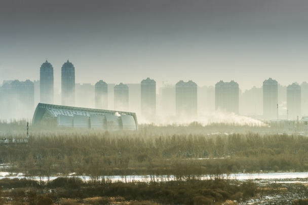 A line of skyscrapers in suburbs of Harbin