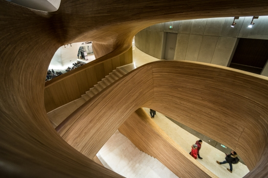 Wooden stairs inside Harbin Opera House