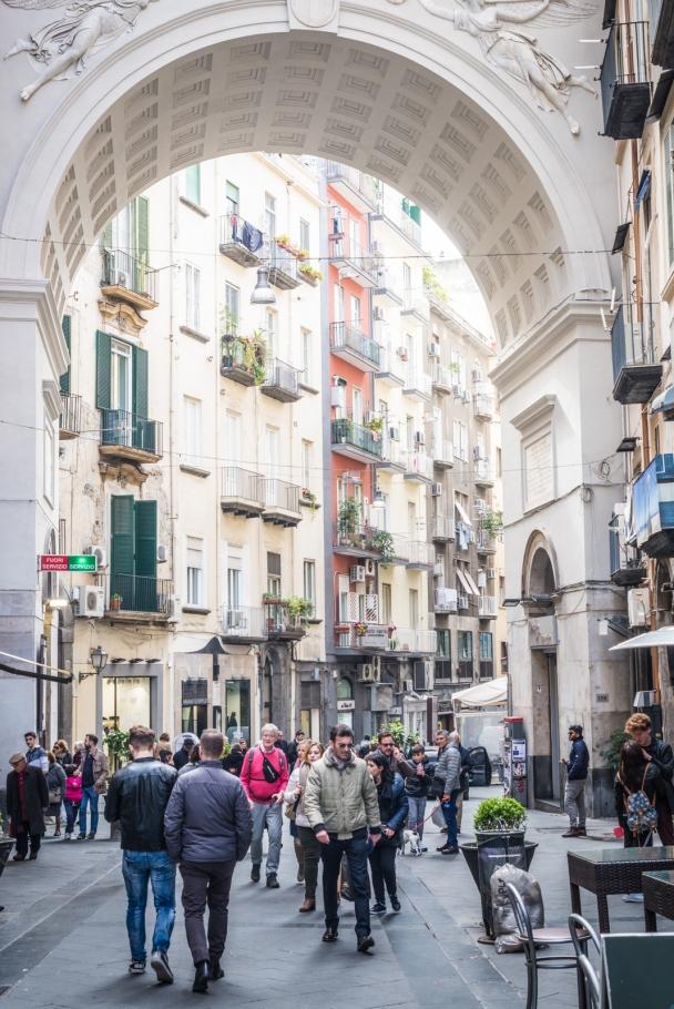 The gate to Chiaia street, Naples shopping area