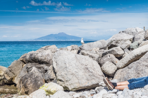 Southern end of the gulf of Naples, relaxing on Capri island, the volcano Vesuvio in the background