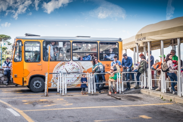 Obtorto collo, this is the bus to the village of Anacapri, hill top of the Island of Capri. A walk uphill looks healthier