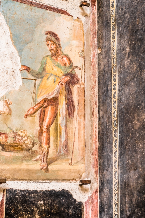 Priapus and his heavy arguments, fresco in Pompeii
