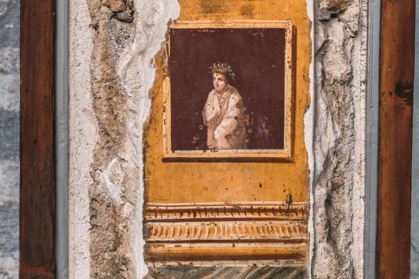 Poet in a frame, fresco, Pompeii