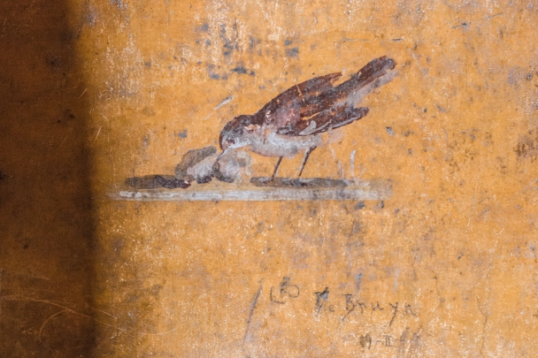 Mummy bird feeding her young, fresco, Pompeii