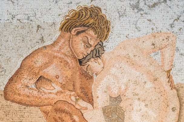 Satyr having sex with a woman, mosaic, Pompeii